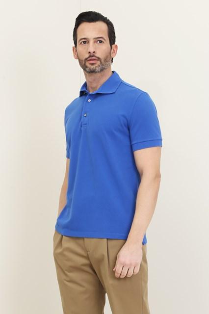 Ballantyne Short-sleeved polo in blue piquet