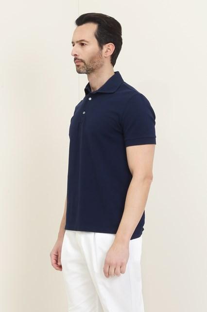 Ballantyne Short-sleeved polo in dark blue piquet