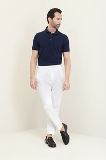 Ballantyne Short-sleeved polo in dark blue piquet