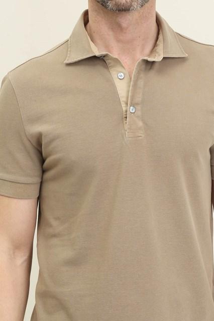Ballantyne Short sleeve polo shirt in beige piquet