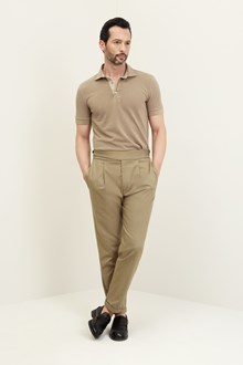 Ballantyne Short sleeve polo shirt in beige piquet